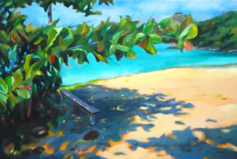 "In the shade, 24""x36"", acrylic on canvas, Donna Grandin"