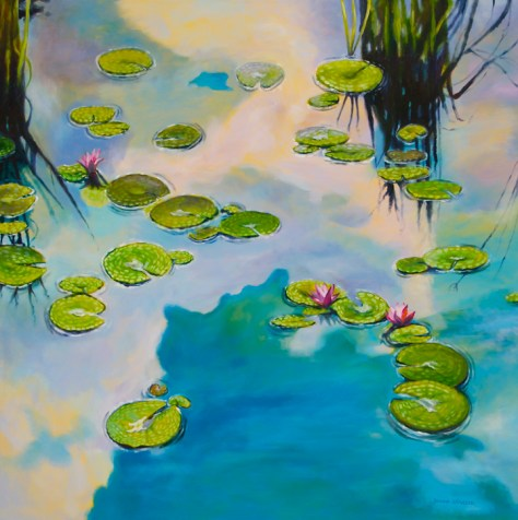 "The thinking place, 48""x48"", acrylic on canvas, ©2014 Donna Grandin. $2400."
