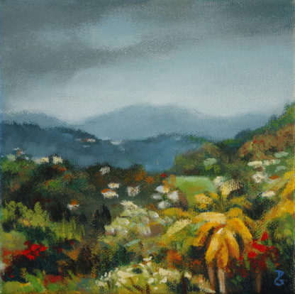 "Before the rain, 6""x6"", acrylic on canvas, © 2014 Donna Grandin. Sold"