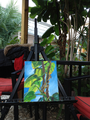 """""""Entwined"""" on my easel in the conservatory at the Burlington Art Center"""