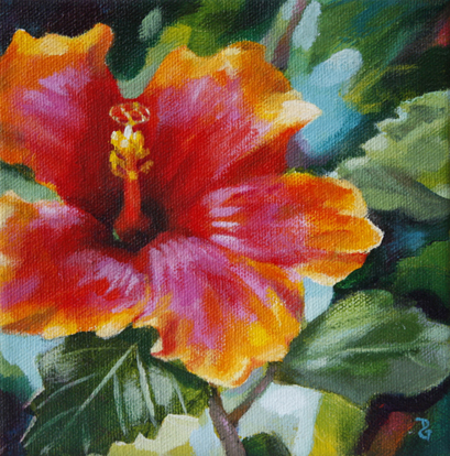 "Hibiscus gem, 6""x6"", acrylic on canvas, © 2014 Donna Grandin"