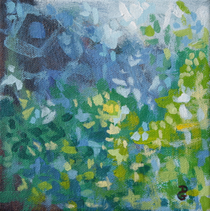 "Intrigue, 8""x8"", acrylic on canvas, © 2014 Donna Grandin. $100."