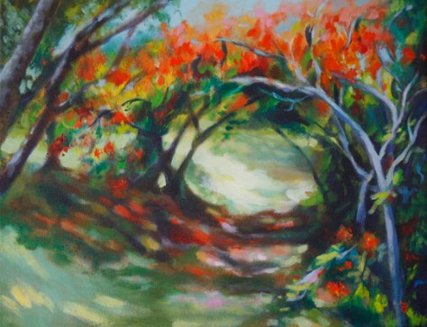 "Nature Walk, 11""x14"", acrylic on canvas, © 2014 Donna Grandin. Sold"