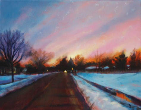 "The way home, 11""x14"", acrylic on canvas, © 2014 Donna Grandin. $250. + tax & shipping"