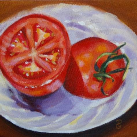 "Tomato still-life 2, 6""x6"", acrylic on canvas, © 2014 Donna Grandin. $100."