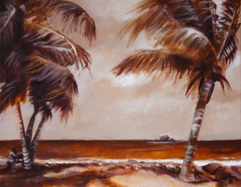 "Under the coconut trees, 11""x14"", acrylic on canvas, © 2014 Donna Grandin. $250 +tax & shipping"