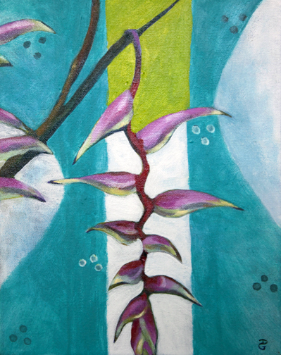 "Sexy Pink Heliconia 2, 10"" x 8"", acrylic on canvas, © 2014 Donna Grandin. $100."