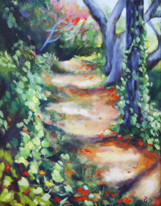 "Flamboyant path, 14""x11"", acrylic on canvas, © 2014 Donna Grandin. $250."