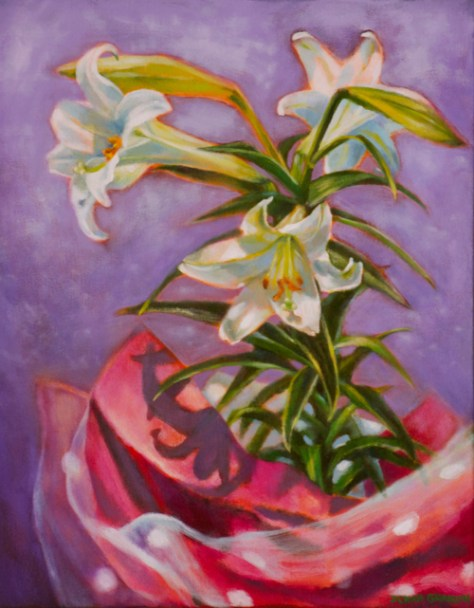 Easter lilies, potted plant