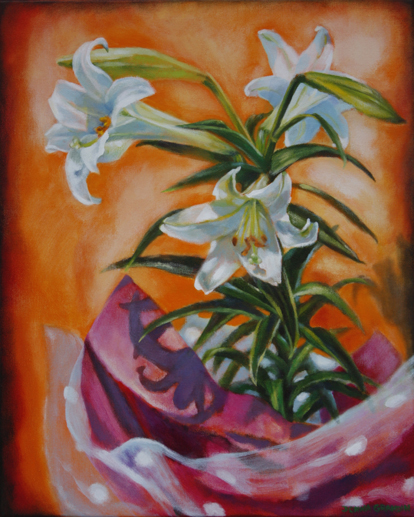 "Easter lilies & polka dots, 20""x16"", acrylic on canvas, © 2014, Donna Grandin. $800."