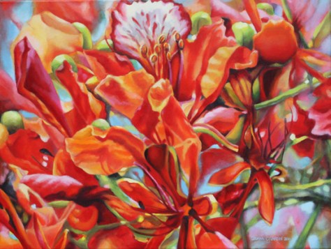 "Flower Carnival, 18""x24"", acrylic on canvas, © Donna Grandin, 2011"