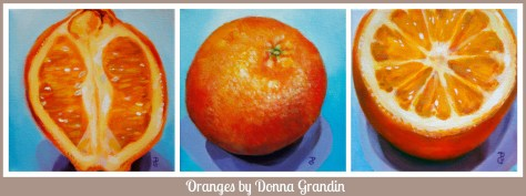 Oranges collage, acrylic paintings by Donna Grandin