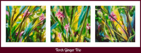 Torch Ginger Trio, a view of all three paintings