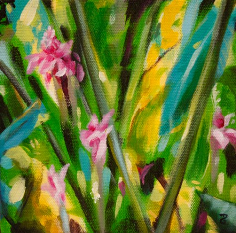 "Torch Ginger Trio 2, 6""x6"", acrylic on canvas, © 2014 Donna Grandin. $100."