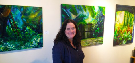 Donna Grandin with her paintings during Art in Action Burlington studio tour 2014