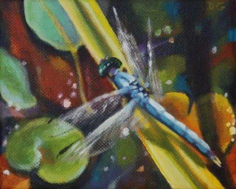 "Watching, 4""x5"", acrylic on canvas, Donna Grandin"
