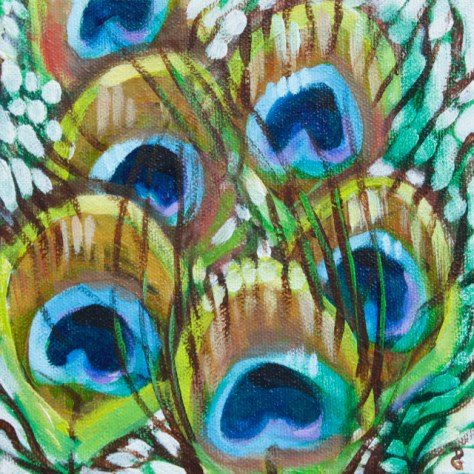 "Peacock feathers 2, 6""x6"", acrylic on canvas, © 2014 Donna Grandin. Sold"