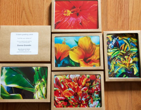 kraft boxes with blank greeting cards - Donna Grandin Art Cards - Tropical series 1