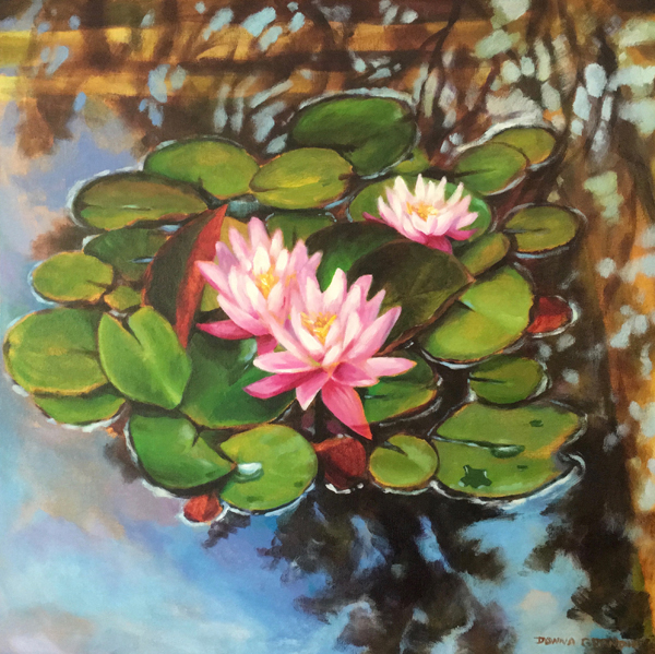 Water lily flower painting images for Floating flowers in water