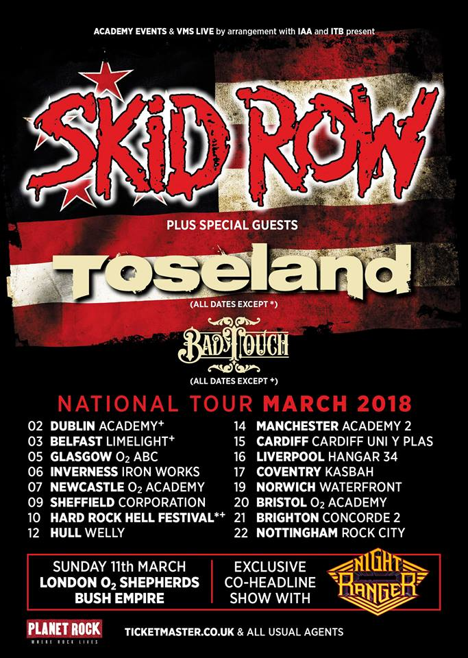 Bad Touch Special Guests Skid Row Tour 2018