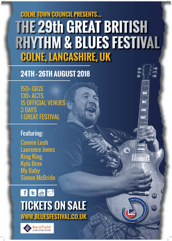 Colne Rhythm and Blues is back again in 2018