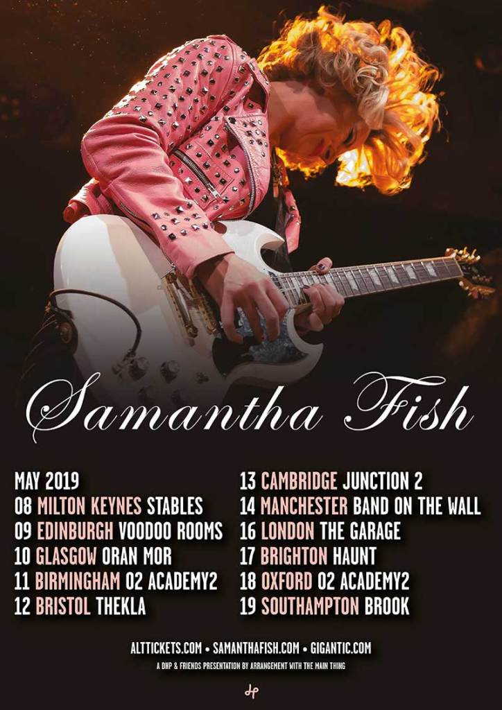 Samantha Fish Touring UK May 2019 with her Guitars