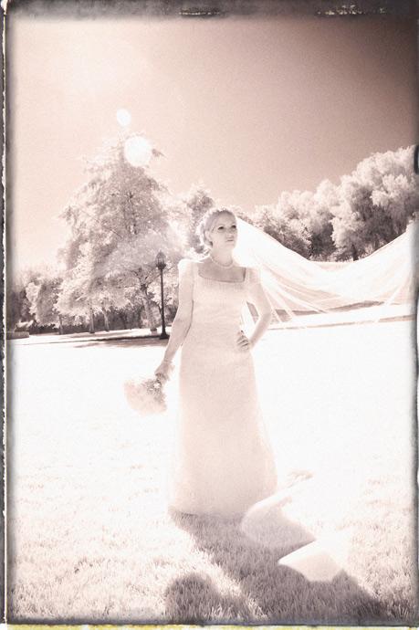 Infrared image of bride at Brookside Equestrian Center Wedding