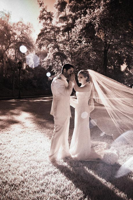 Bride and Groom photographed in Infrared at their Brookside Equestrian Center Wedding