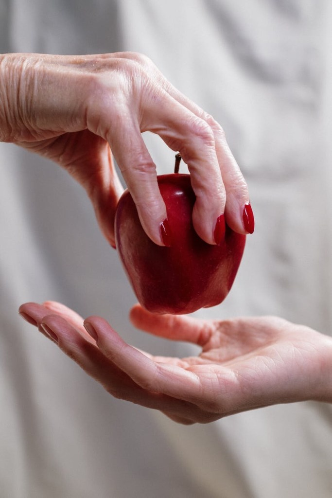 Apple and hands