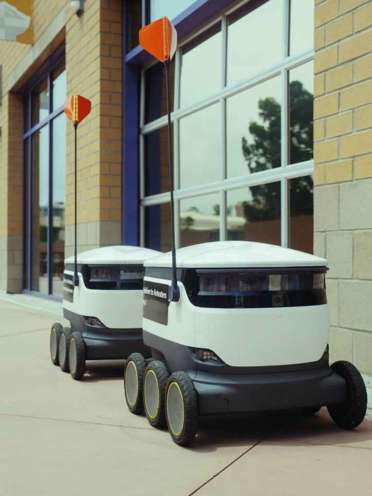 delivery robots parked beside building