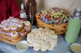 Assortment of boov (Mongolian biscuits), aruul (dried cheese curds) and sweets.