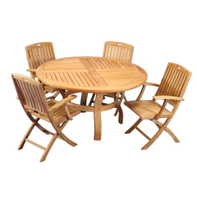 Outdoor Teak Round diining table and folding chairs
