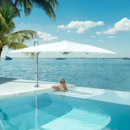 Tuuci Cantilever Pool Side Swim Under, Commercial - White