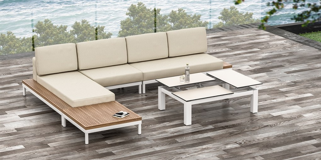 Lisse Sofa Flip Top Coffee Table Set, Patio and Poolside