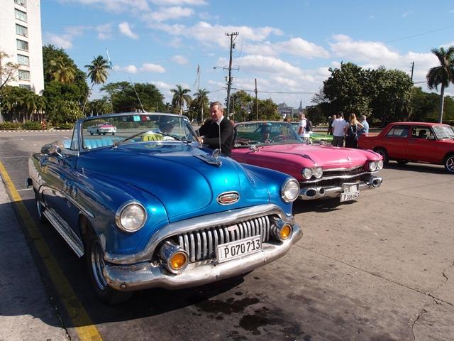 Blue Ford Fairlane car in Havana, Cuba, Blue Sky and Wine