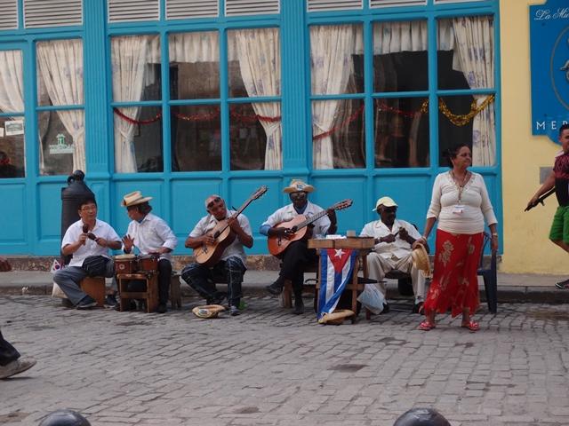 Live street performance in Havana, Cuba, Blue Sky and Wine
