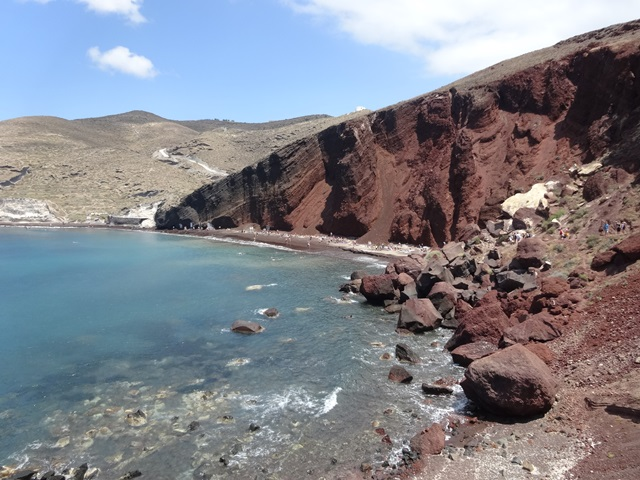 Red beach Santorini Greece, Blue Sky and Wine
