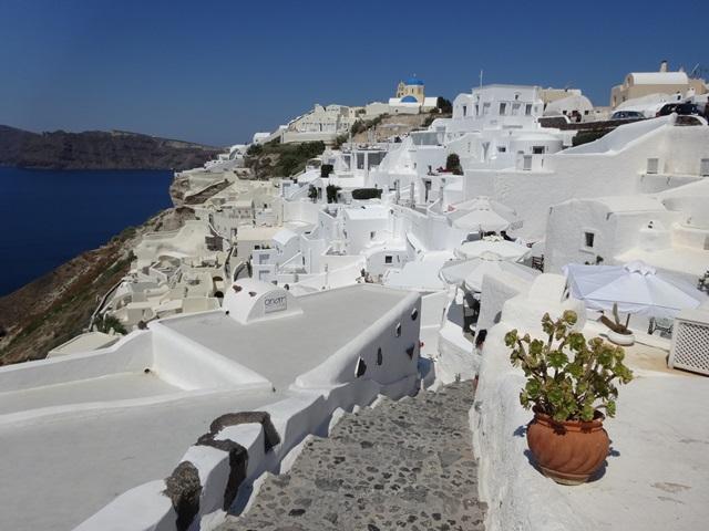Fira in Santorini Greece, Blue Sky and Wine