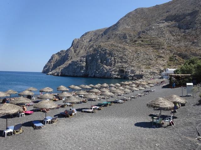 Beach in Santorini Greece, Blue Sky and Wine