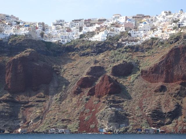 Oia in Santorini, Greece, Blue Sky and Wine