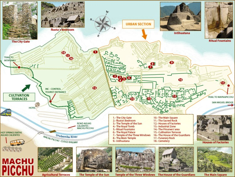 Machu Picchu site map, Peru, Blue Sky and Wine