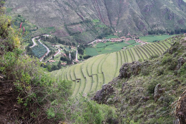 Sacred Valley of the Incas, Ollantaytambo, Peru, Blue Sky and Wine