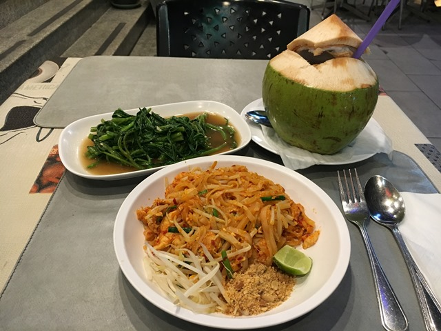 Pad Thai, Morning Glory and Coconut Juice, Thai Dish, Blue Sky and Wine