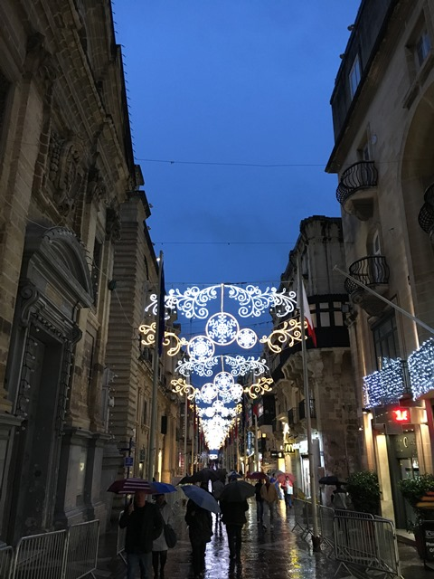 Valletta with Christmas lights, Malta, Blue Sky and Wine