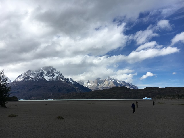 Blue Sky and Wine, grey lake, torres del paine, puerto natales, chile