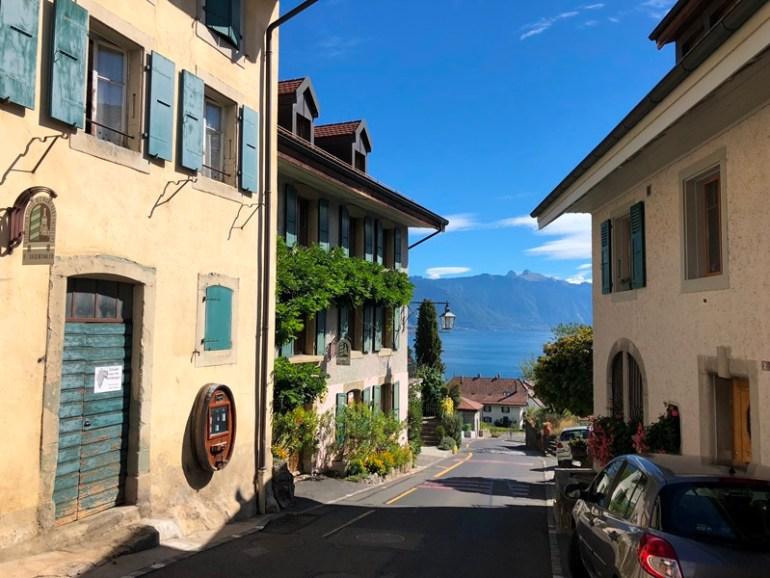 Rivaz village in Lavaux Vinyard, Geneva, Blue Sky and Wine