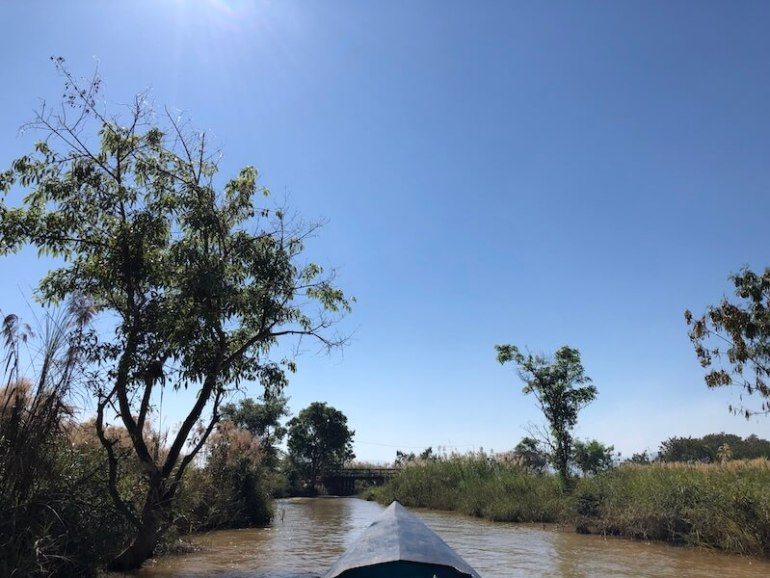 In dein river inle lake, blue sky and wine