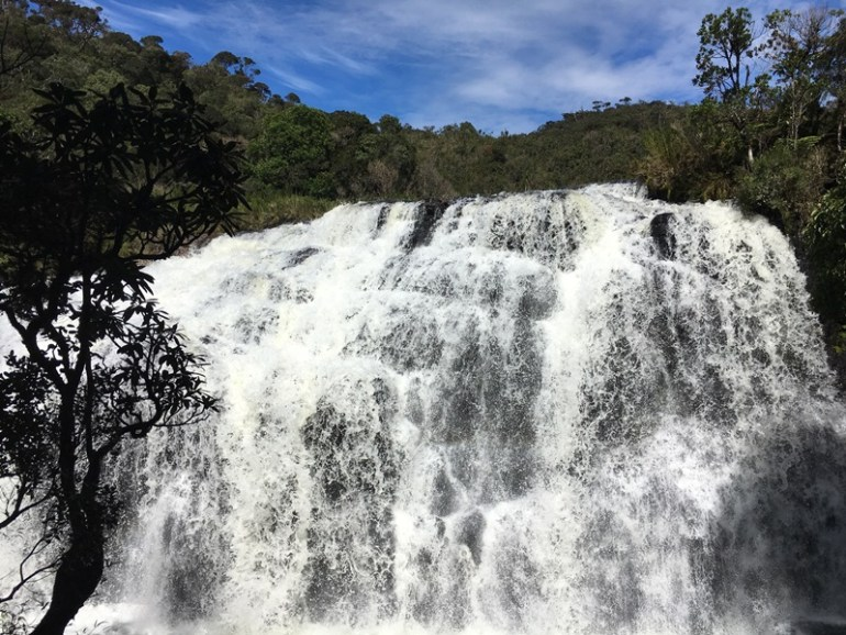 bakers fall in Horton Plains, Nuwara Eliya, Sri Lanka, Blue Sky and Wine
