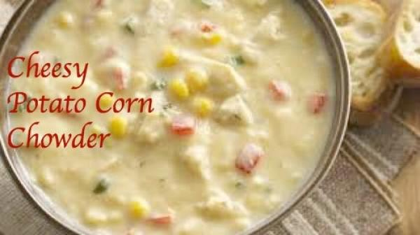 Cheesy Potato Corn Chowder Is Perfect for Christmas Eve ~ a warm and comforting delicious main dish to make ahead and then share with family and friends.