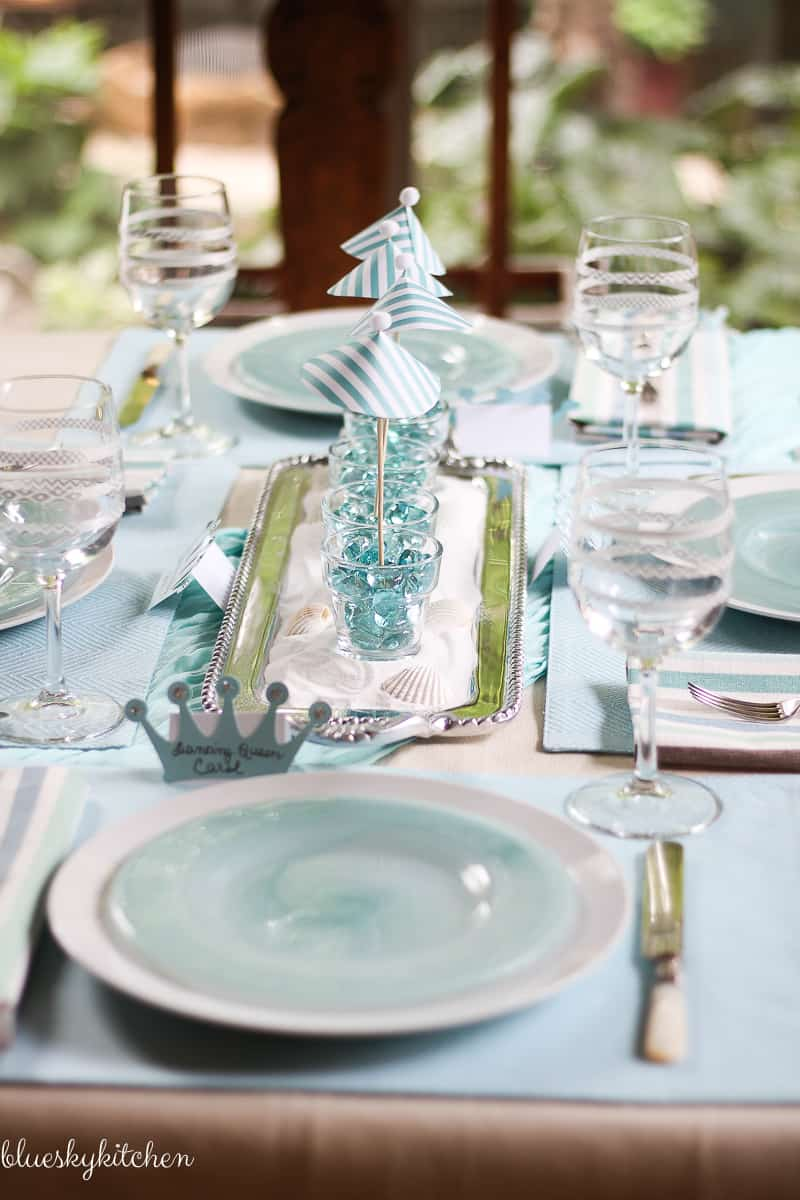 MAMMA MIA! celebrates Broadway Tablescape Blog Hop. The blue water and sky of a Greek isle and the music of ABBA inspires this Broadway Tablescape creation. blueskyathome.com